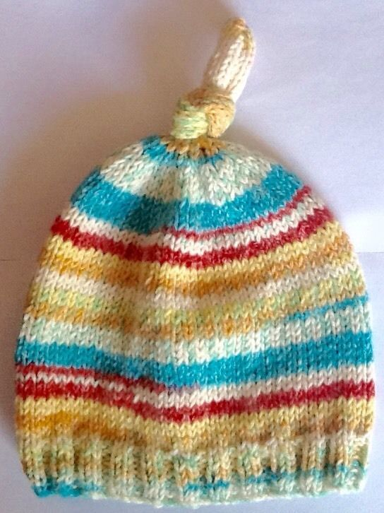 Hand Knitted Unisex Top-Knot Hat Age 6-12 Months