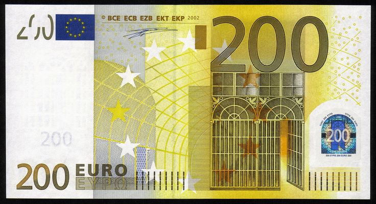Currency of the Eurozone 200 euro banknote 2002 European Central Bank