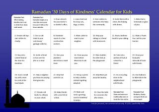 A free printable calendar with 30 acts of kindness which kids can do during the month of Ramadan.