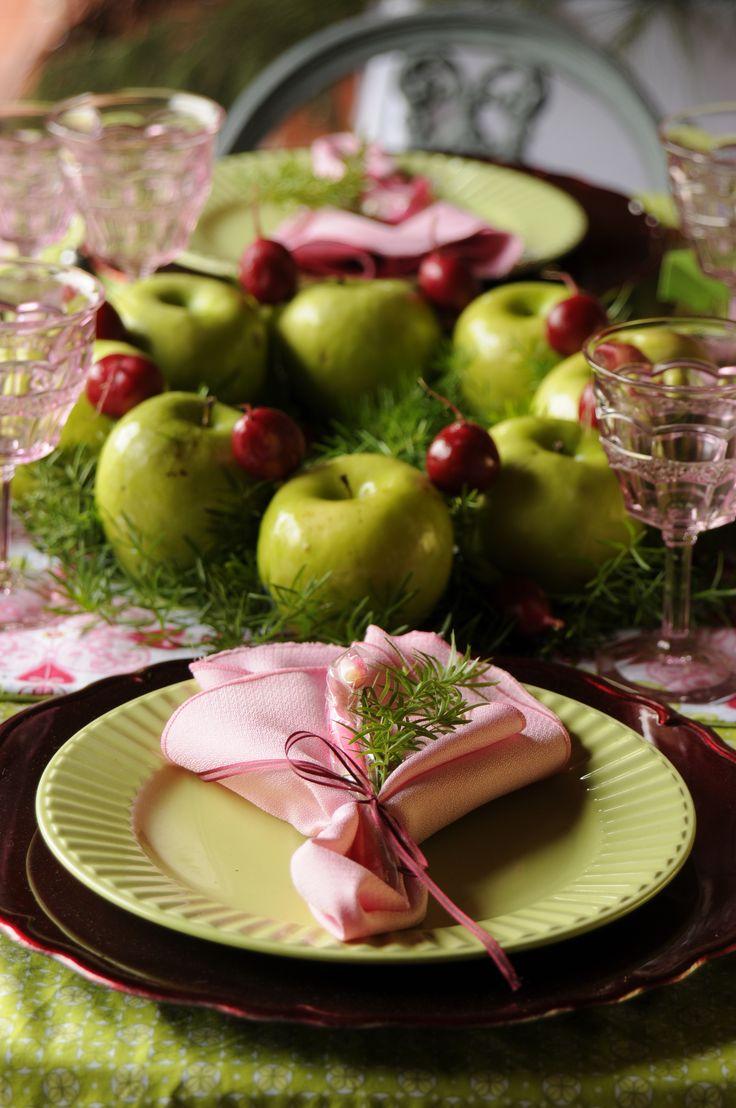 Corona de manzanas para centro de mesa