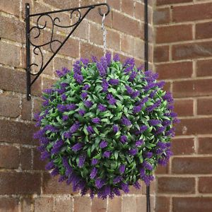 ARTIFICIAL PURPLE LAVENDER BALL FAKE HANGING TOPIARY GARDEN BASKET