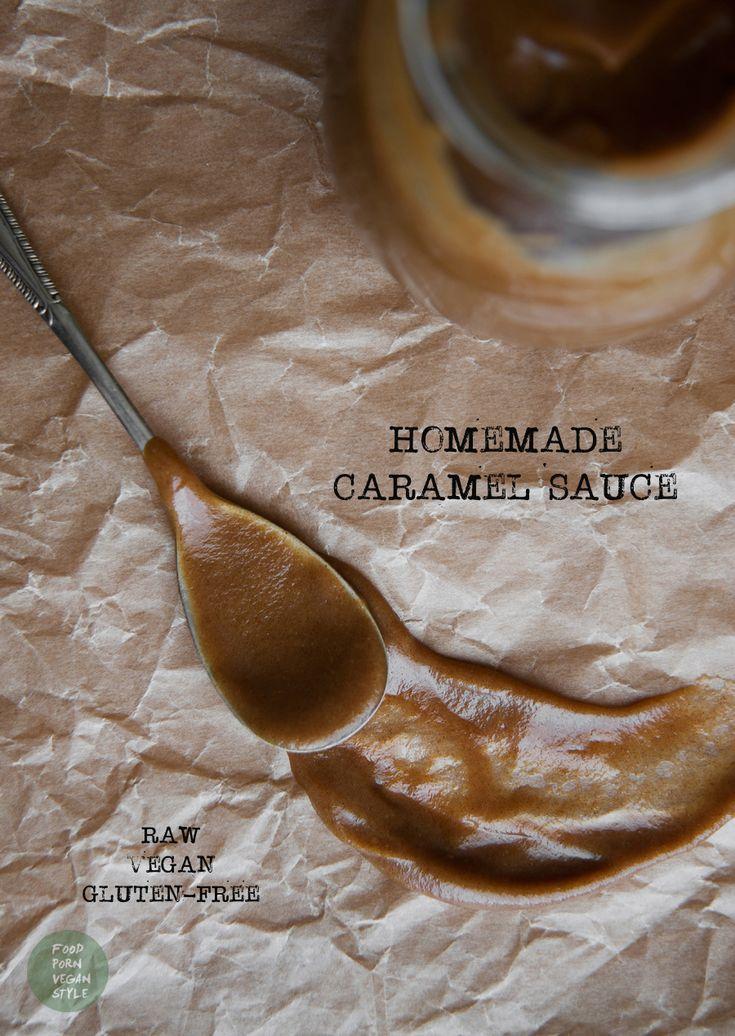 Homemade vegan caramel sauce, made with dates / Wegański sos karmelowy z daktyli