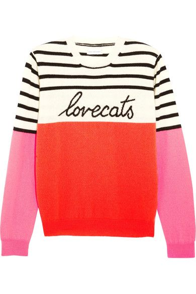 Chinti and Parker's playful intarsia designs have earned the label a cult following. Spun in Italy from cozy cashmere, this color-block 'Lovecats' sweater has pretty pink and papaya panels contrasted with cream and black stripes. Try yours with jeans and pumps.