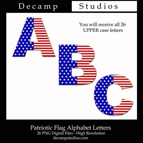 Free American Flag Alphabet Letters Digital Printable