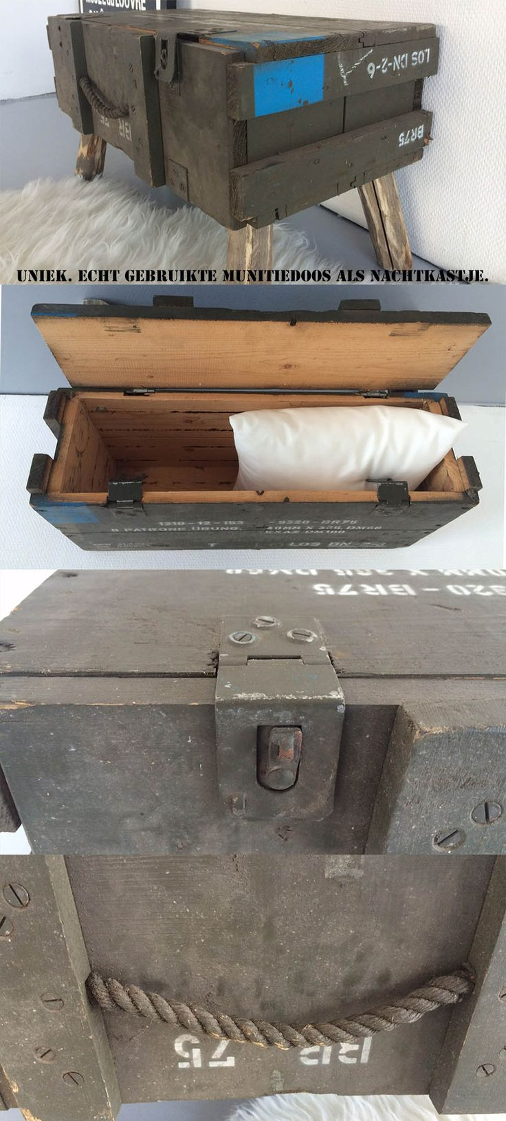 Nachtkastje Munitiekist (Echt gebruikte leger munitie kist hergebruikt als nachtkast)