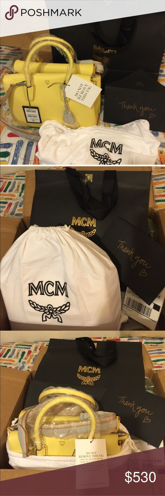 MCM brand new ! Mcm Milla Tote Custard brand new. Selling for my sister she received the package from usps however its a bit small for her body built she wants to sell just to get the money she spent for it.. No low ball offers ,, its PRACTICALLY NEW! Low ballers will be ignored,, this is an authentic bag. Poshmark concierge will authenticate before it will be shipped to the buyer. MCM Bags Totes