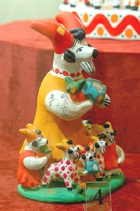 Дымковская игрушка-Dymkovo toy. The name of this folk art is associated with the village Dymkovskaya settlement, on the outskirts of the ancient Russian town Khlynov (later Vyatka, now Kirov).