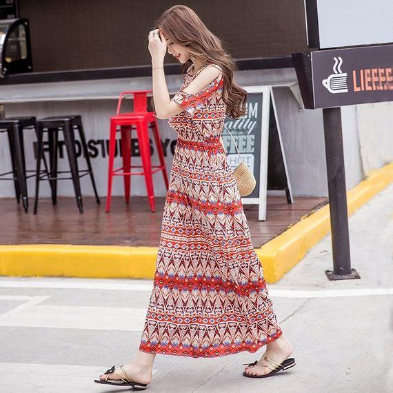 슬링 누설 어깨 드레스 여성의 2017 여름 새로운 보헤미안 드레스 인쇄 해변 리조트 해변 드레스