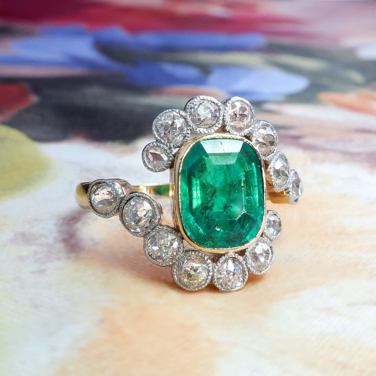 Antique Emerald Diamond Ring Circa 1900's 2.87ct t.w. Natural Emerald Old Cut Diamond Bypass Halo Ring 18k Platinum by YourJewelryFinder on Etsy https://www.etsy.com/uk/listing/550191539/antique-emerald-diamond-ring-circa-1900s