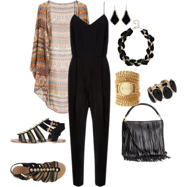 """Black jumpsuit with a kimono and black gladiator sandals"" by amooshadow on Polyvore"