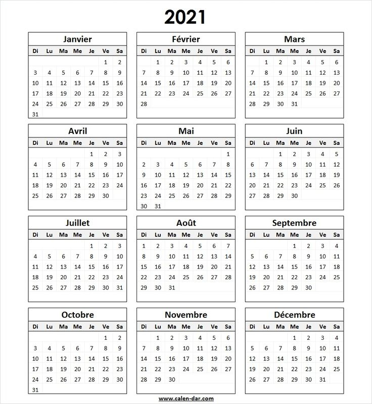 Modèle Calendrier 2021 à Imprimer in 2020 | Bullet journal ...