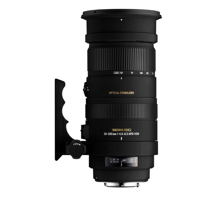 SIGMA  50-500 mm f/4-6.3 APO EX DG HSM Telephoto Zoom Lens - for Nikon Price: £ 849.00 Top features: - Optical stabilisation makes every shot clearer - Quality focusing with special lens elements - Easy to handle design with a removable tripod support Optical stabilisation Offering full frame coverage with a huge zoom range, the Sigma 50-500mm f/4-6.3 Telephoto Lens is perfect for shooting...