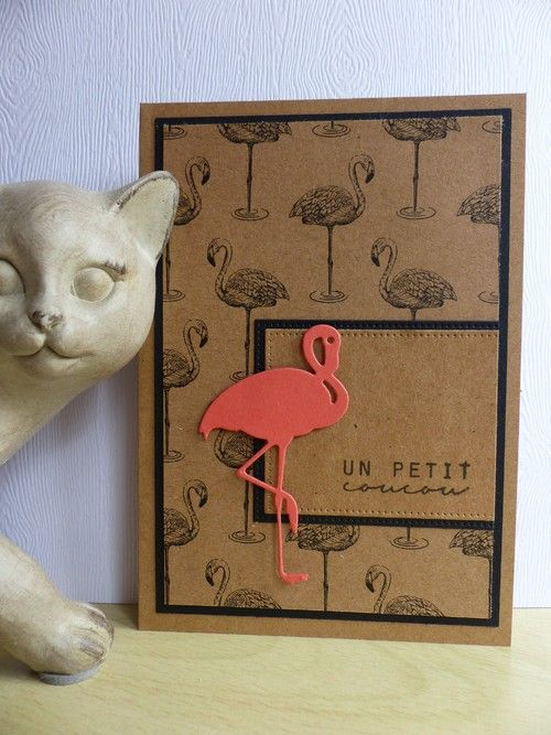 handmade greeting card ... flamingo theme ... kraft with black adornments and one peachy die cut flamingo to top it off ...