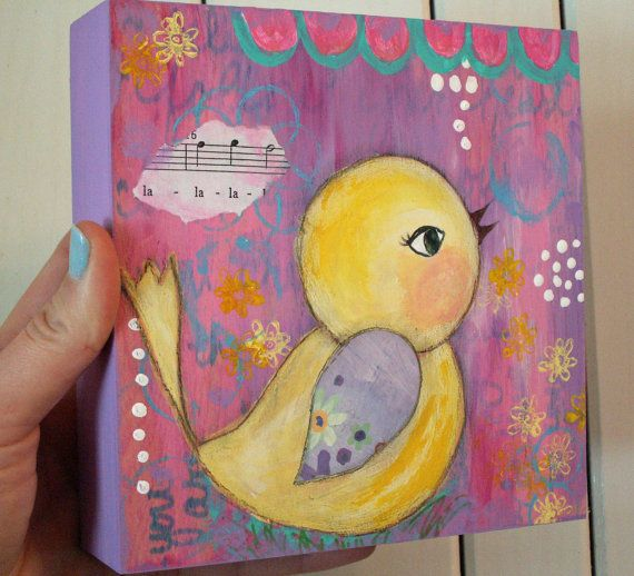 Whimsical Bird for Girl, Yellow, Lavender, Pink Girls Room Decor, Sing, 6x6 Wood Canvas, Original Art on Etsy, $42.00