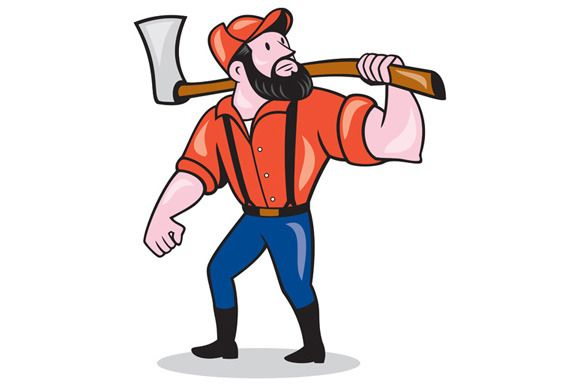 LumberJack Holding Axe Cartoon by patrimonio on Creative Market