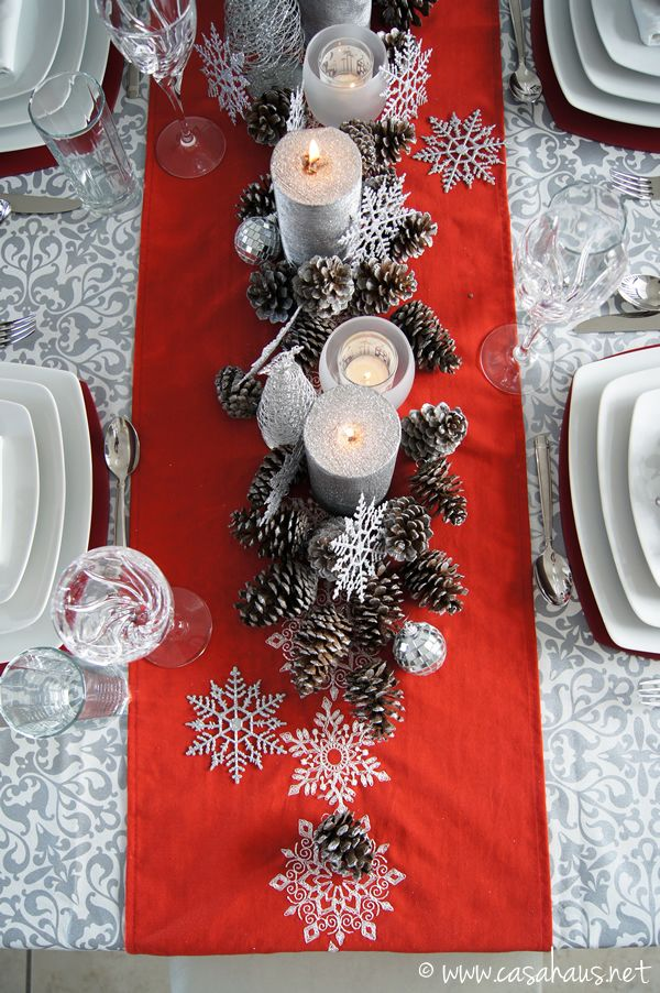 #Centerpiece for #Christmas time: pine cone table setting