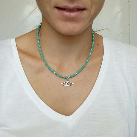 Evil Eye NecklaceCrystal NecklaceBlue Necklace