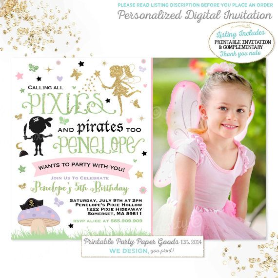 Pixies And Pirates Birthday Invitation Fairies & Pirates Invitation Girl Boy Combined Birthday Invite Pixies And Pirate Birthday Party