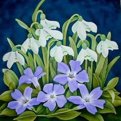 Silk Painting Snowdrops and Vinca