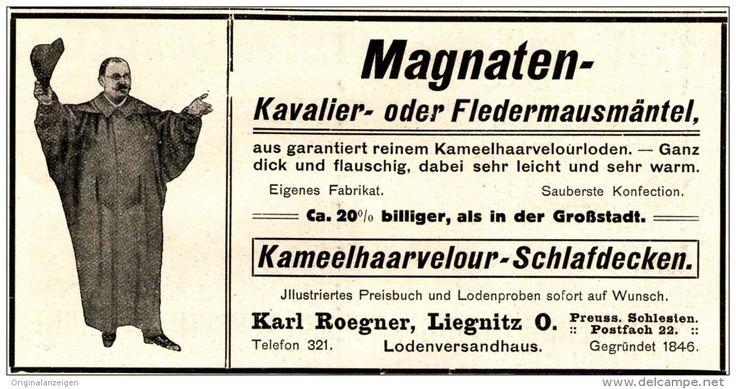 Original-Werbung/ Anzeige 1911 - MAGNATEN /KAVALIER/ FLEDERMAUSMANTEL /KARL ROEGNER -LIEGNITZ (SCHLESIEN) -ca.130 x65 mm