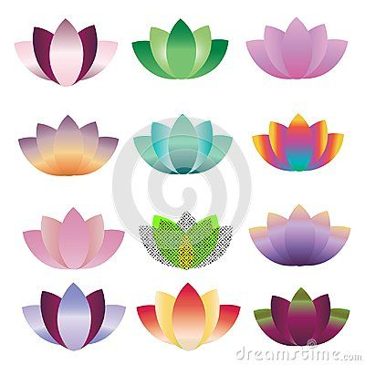 Various colored lotus logo isolated vector.