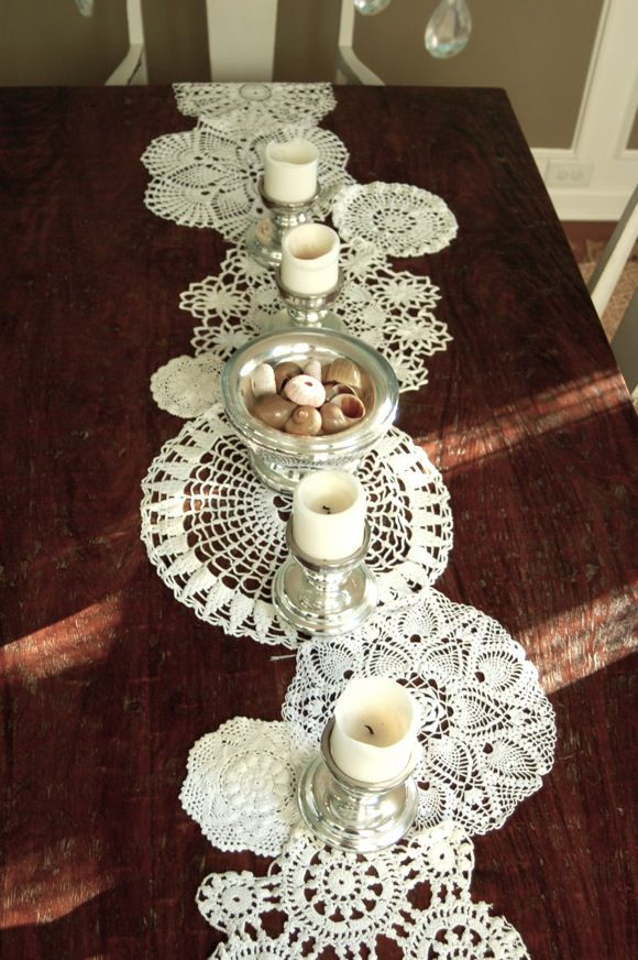 Doilies sewn together to make a table runner.