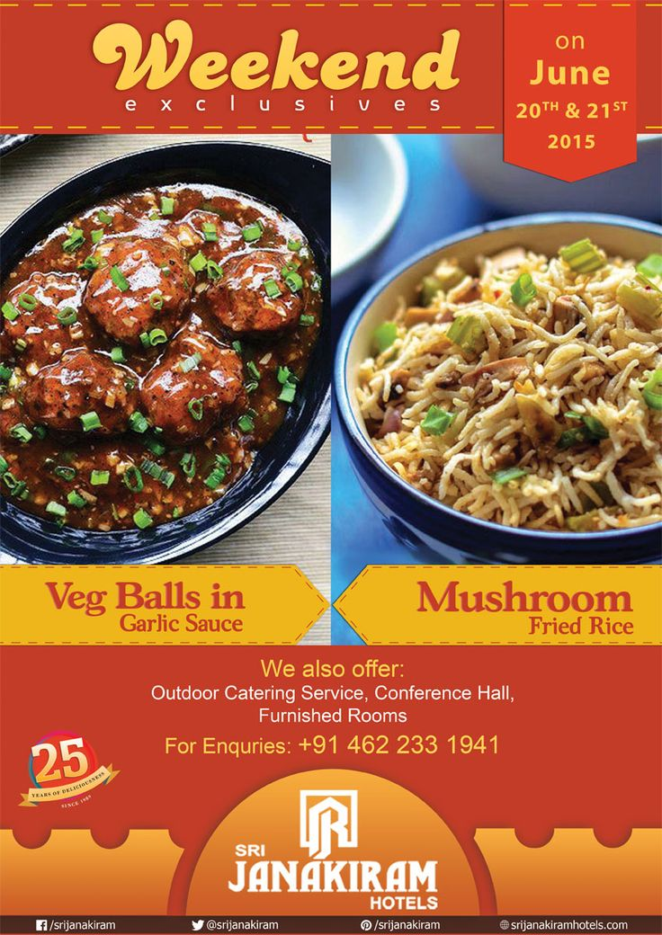 Veg Balls in Garlic sauce is a great combination for #Veg #Mushroom Fried Rice! Enjoy this #deilicious combinations at #Srijanakiram_Hotels for this #weekend