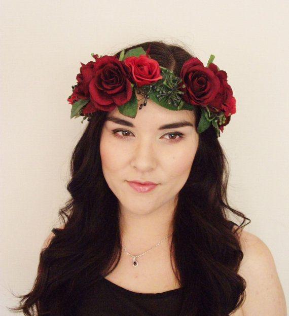 Red Rose Berry Leaf Floral Crown - Floral Headband, Flower Crown, Floral Wreath, Wreath, Wedding, Festival, day of the dead, halloween