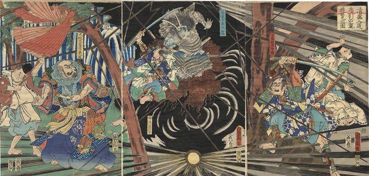During the Visit of Kiyomori to the Nunobiki Waterfall, the Ghost of Akugenda Yoshihira Strikes Down Nanba Jiro by Kunichika / 清盛入道布引の瀧遊覧の図 国周