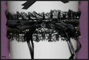 Sophisticated Black Satin and Lace Garters