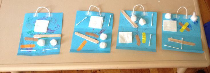 #preschool craft: doctor bags using real first aid supplies! #saltmeadowacademy www.facebook.com/saltmeadowacademy