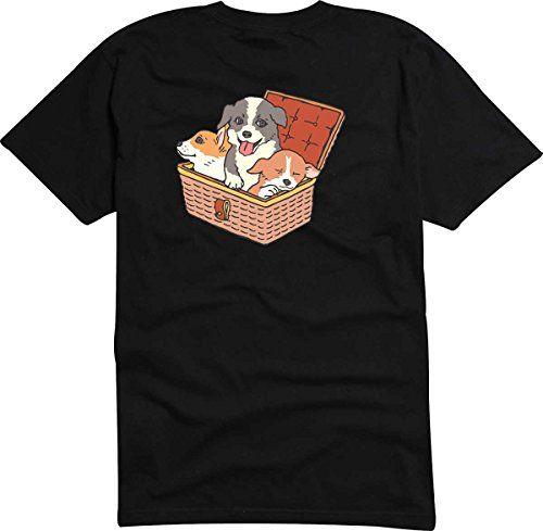 T-Shirt - Camiseta D854 Hombre negro con la impresión en color S - diseño Tribal cómico / gráfico perrominúsculo cachorro en el cesta #camiseta #realidadaumentada #ideas #regalo