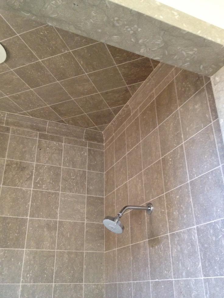 Seagrass limestone bathroom ceiling!
