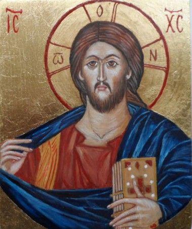 Chrystus Pantokrator ,wg mozaiki z kościoła Fethiye Cami w Konstantynopolu.tempera na desce.