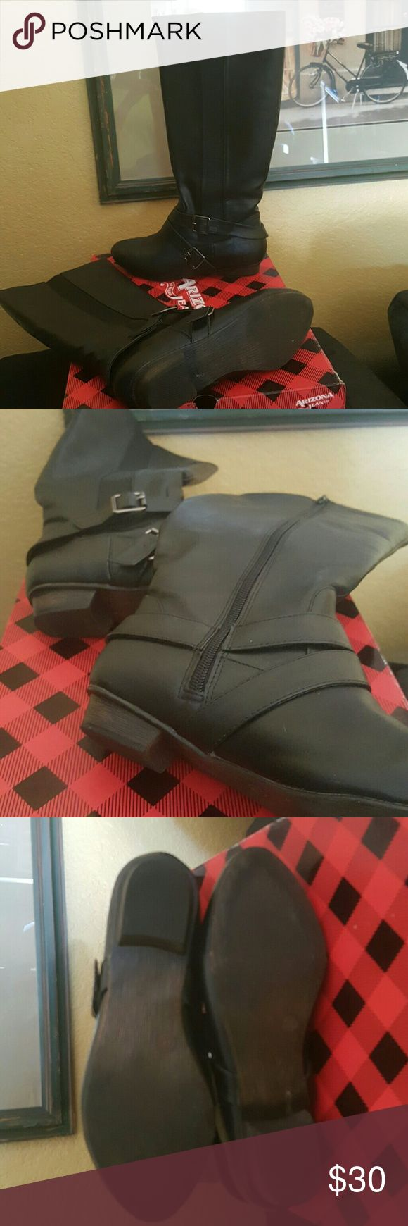 TALL BLACK BOOTS SZ 8 tall black zip up AZ Jean Company.  Worn 1x. Shoes Winter & Rain Boots