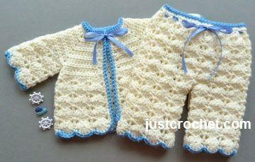 Free crochet pattern for Premature coat and pants set http://www.justcrochet.com/prem-boys-outfit-usa.html #justcrochet #patternsforcrochet