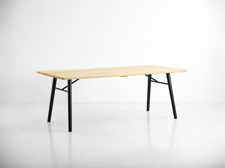 Split dining table, soap treated tabletop with black legs • Designed by Says Who #diningtable #table #planktable #design #WOUDdesign