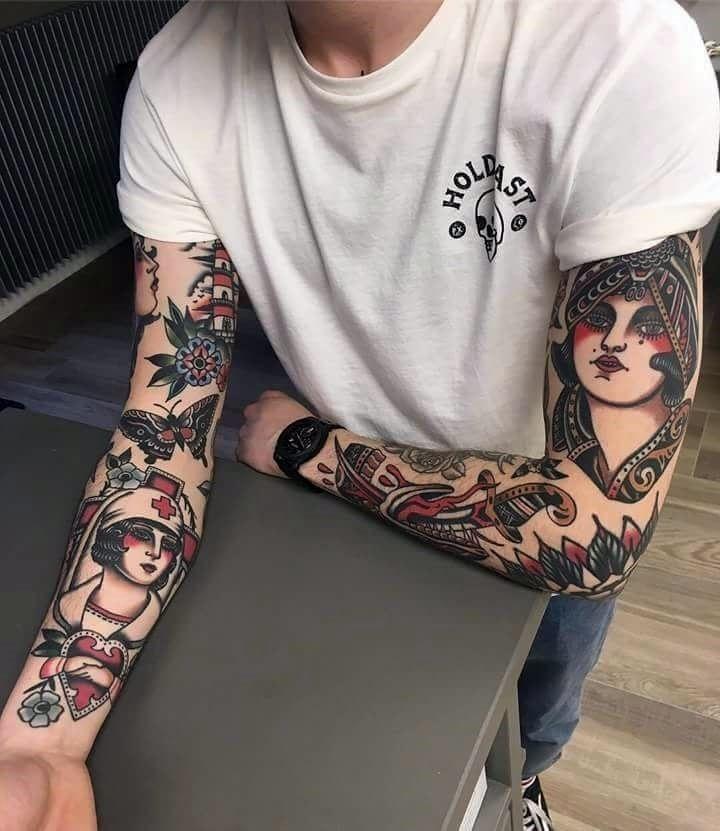 Oh La La Black White Et Art Traditional Tattoo Sleeve Tattoos American Traditional Sleeve