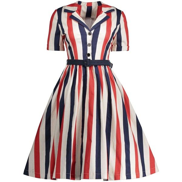 Midi A Line Stripe Vintage Shirt Dress (£20) ❤ liked on Polyvore featuring dresses, 4th of july, rosegal, vintage dresses, a line silhouette dress, white striped dress, white dress and vintage a line dresses
