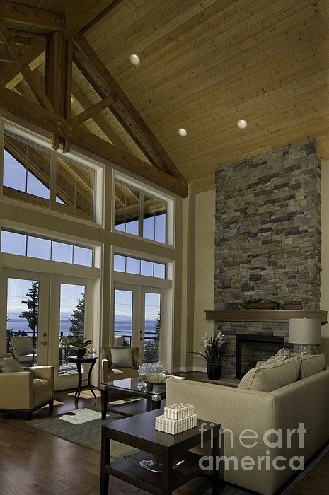 Living Room With Cathedral Ceiling Lakes Fireplaces And Window