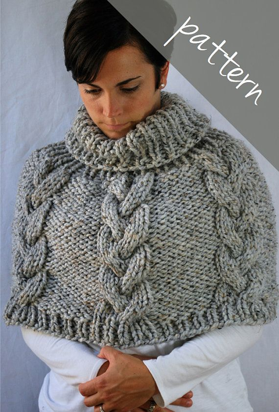 *****This is a PDF pattern available for digital download*****    This knit cable poncho cape is super cozy and stylish. The big chunky cables and ribbed collar give it a timeless look. The large needles and thick yarn make it a quick knit. The simple braided cable make it a great project for those who are new to cables and it's great for those more experienced as well.    Level: Intermediate    Sizes written in S/M (M/L)  Size S/M: 22 inches from top to bottom (with collar unfolded)…