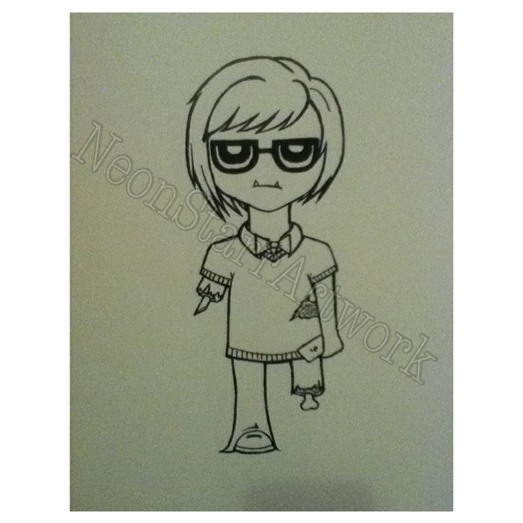 Hipster zombie. Drawn with ink on water colour paper.All artwork posted is done by me (neonstar) unless stated.