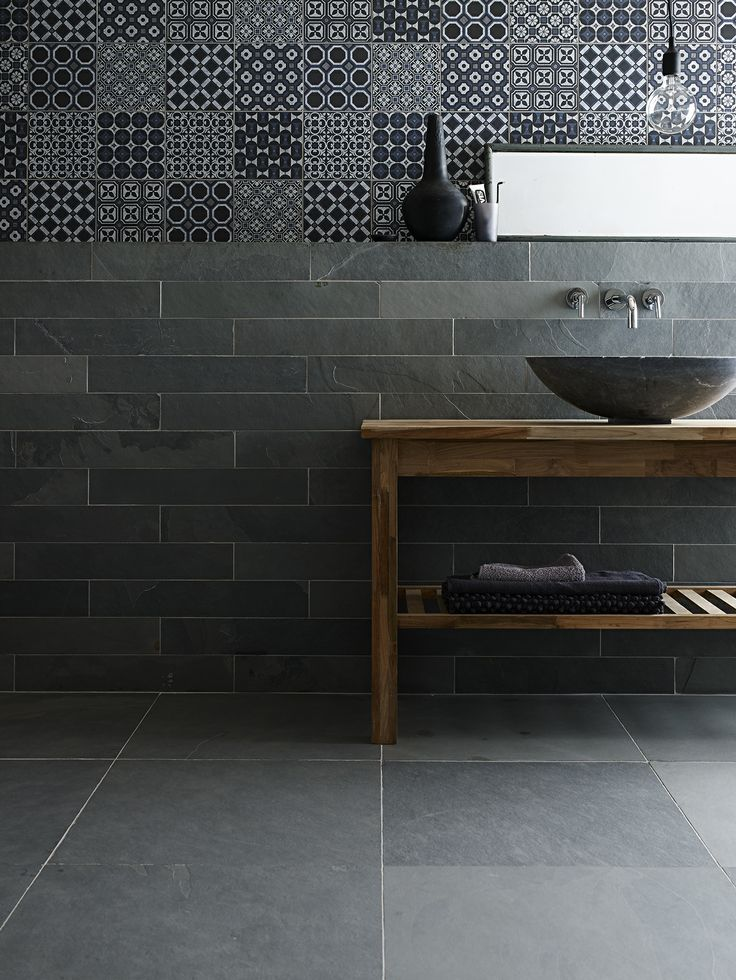 Gris Riven Slate  Baroque Black Blue Decorative tile with Bluestone Venus Jupiter Basin. A grey, finely riven Brazilian slate that looks equally effective in contemporary or traditional interiors. Low maintenance, calibrated thickness with an exterior option. #slate #bathroom #grey #tiles