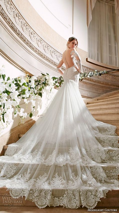 moonlight couture spring 2016 wedding dresses gorgeous mermaid gown off the shoulder long sleeves scallop neckline lace embroidery chapel train / http://www.deerpearlflowers.com/fall-winter-long-sleeve-wedding-dresses/2/