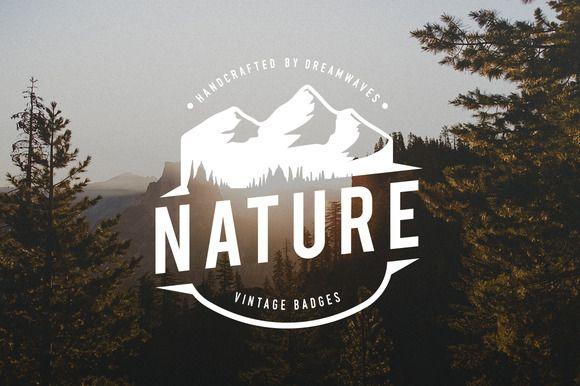 Vintage Nature Logo Badges by dreamwaves on @creativemarket
