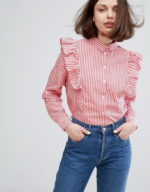 Monki ruffle shirt - click through for more striped clothes for spring