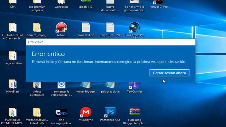 solucionar Error critico el menu inicio y cortana no funciona windows 8,...