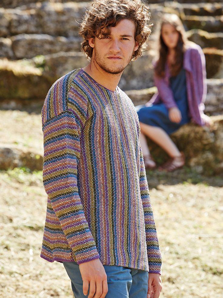 Moss Stitch Jumper Knitting Pattern : Massa - Knit this mans striped jumper in a moss stitch pattern from Rowan Kni...