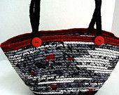 Sale.. Asian Handbag, Handmade Black and White Tote Bag, Oriental Dragon hand coiled fabric