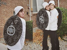 """Couples Halloween costume! Double stuffed Oreos. Made them myself!""----cute"